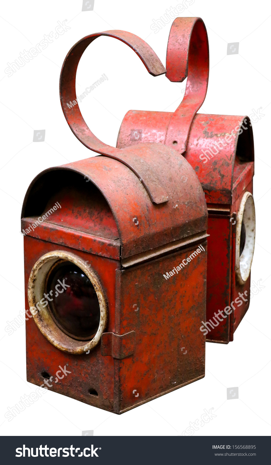 Vintage Red Road Railway Lamps Paraffin Stock Photo