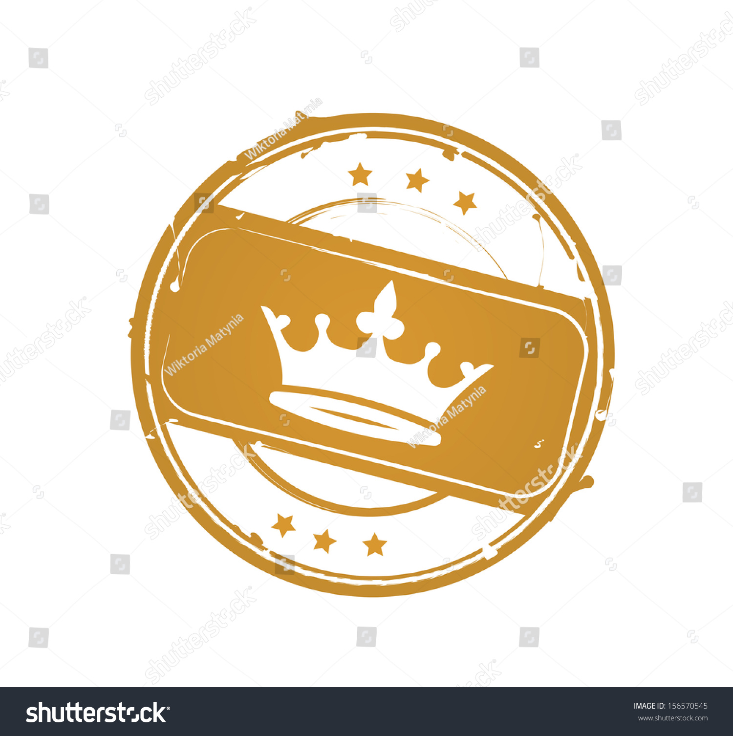 Retro Gold Royal Rubber Stamp With Crown VECTOR