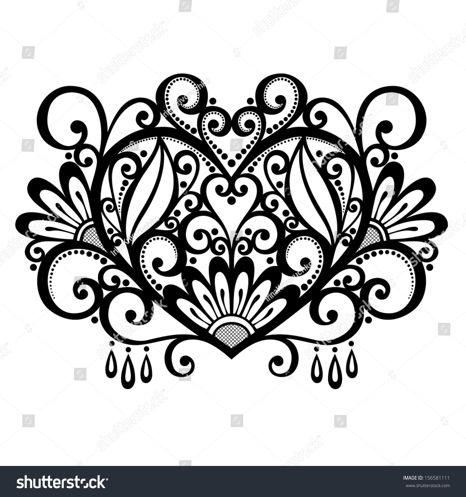 Vector deco floral heart design element stock vector for Element deco design