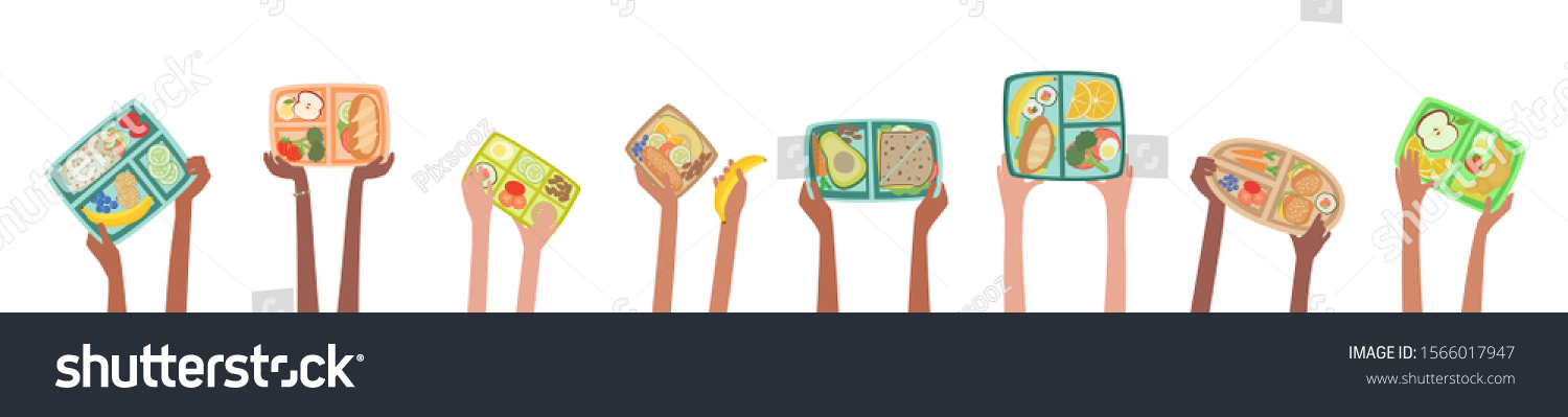 Children hands holding up lunch boxes with healthy lunches food nutrition in school concept with lunchboxes banner