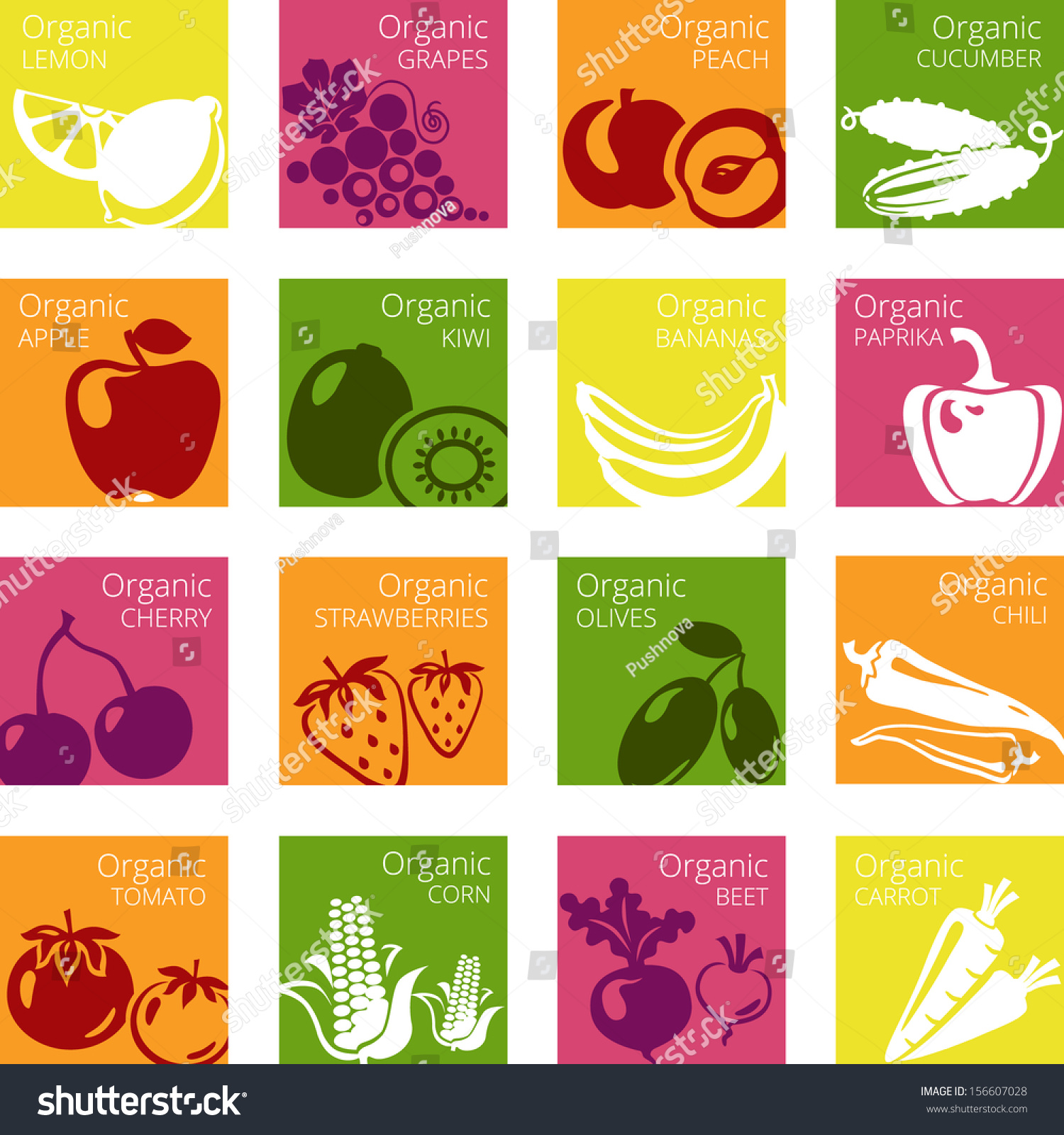 Vector Illustration Of Organic Fruits And Vegetables