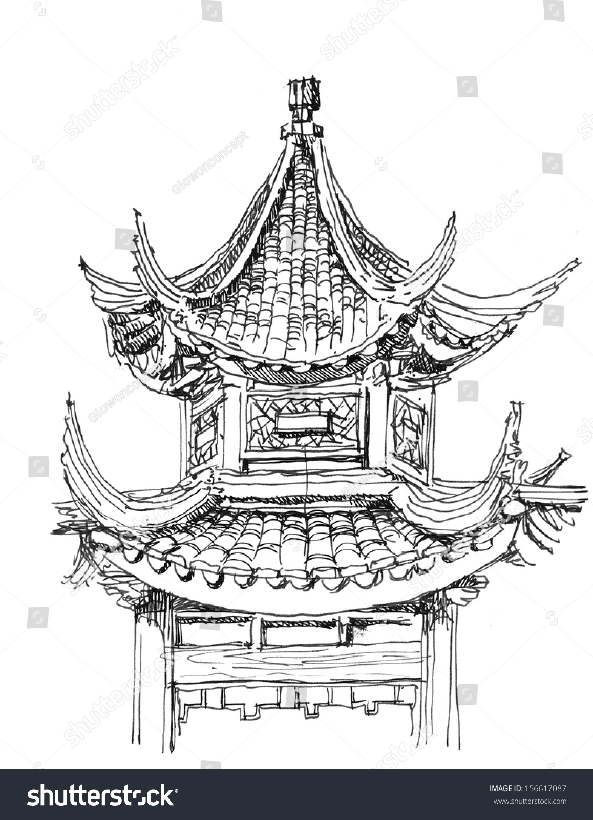 Chinese Temple Drawing Black White Stock Illustration