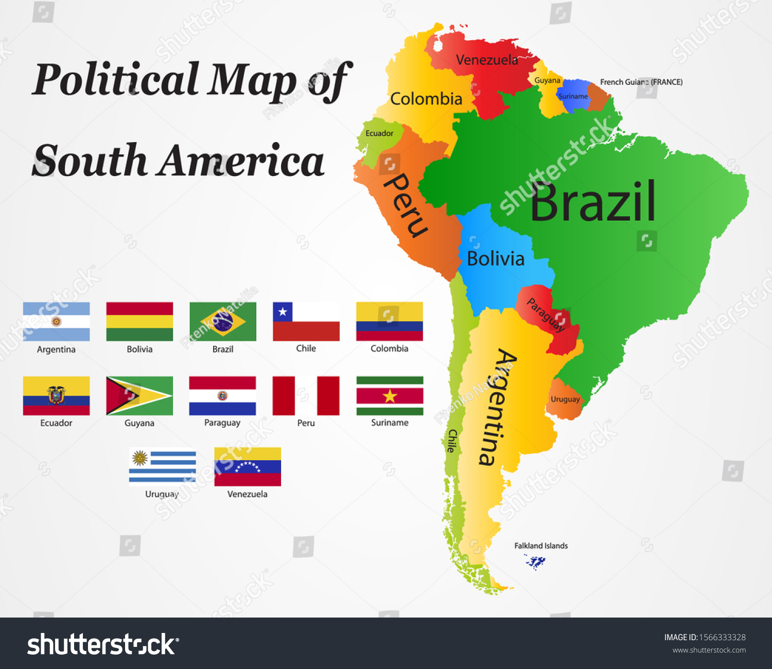 South America Political Division Map Name Stock Vector Royalty Free 1566333328