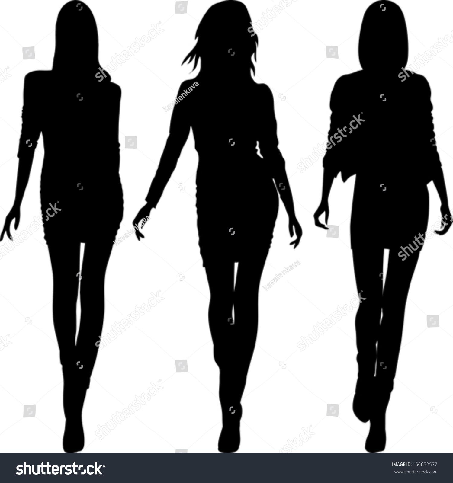 Vector Set 5 Silhouette Fashion Girls Stock Vector