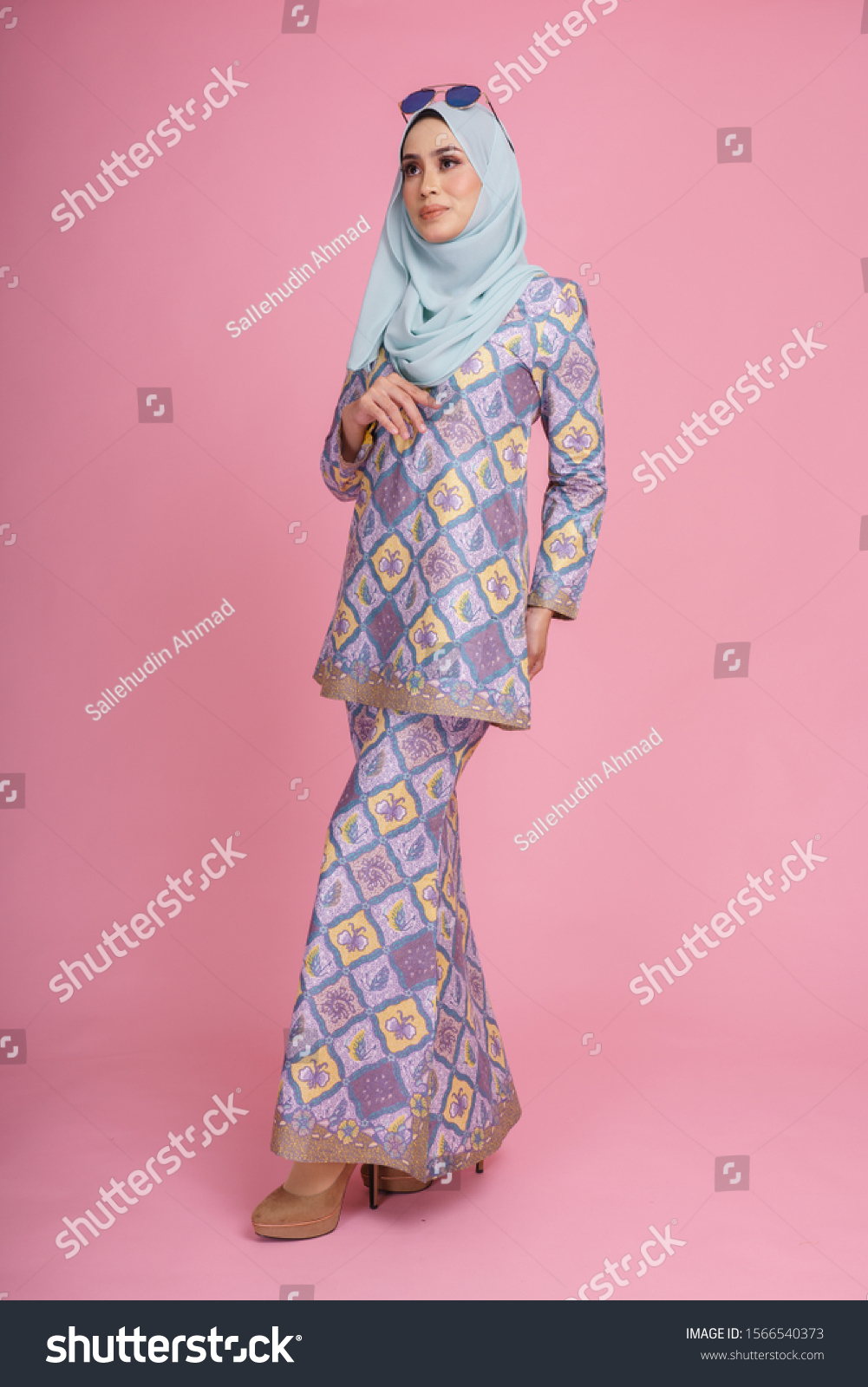 Beautiful Female Model Wearing Batik Design  Beauty/Fashion Stock
