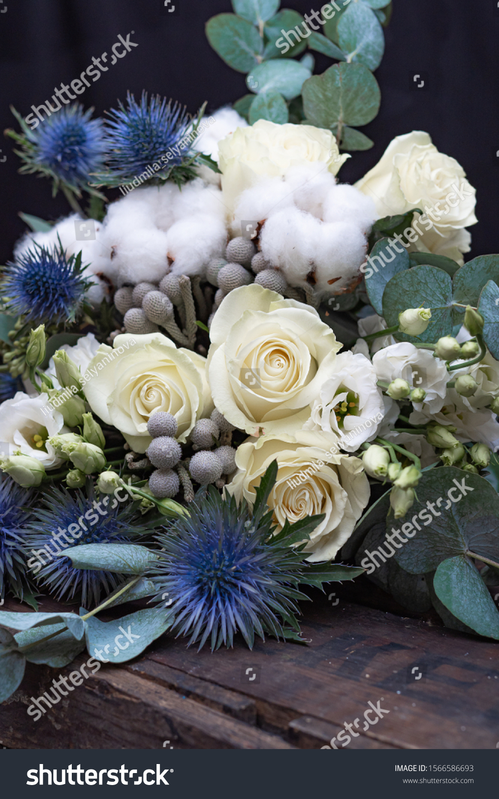Winter Wedding Bouquet White Roses Cotton Stock Photo Edit Now 1566586693