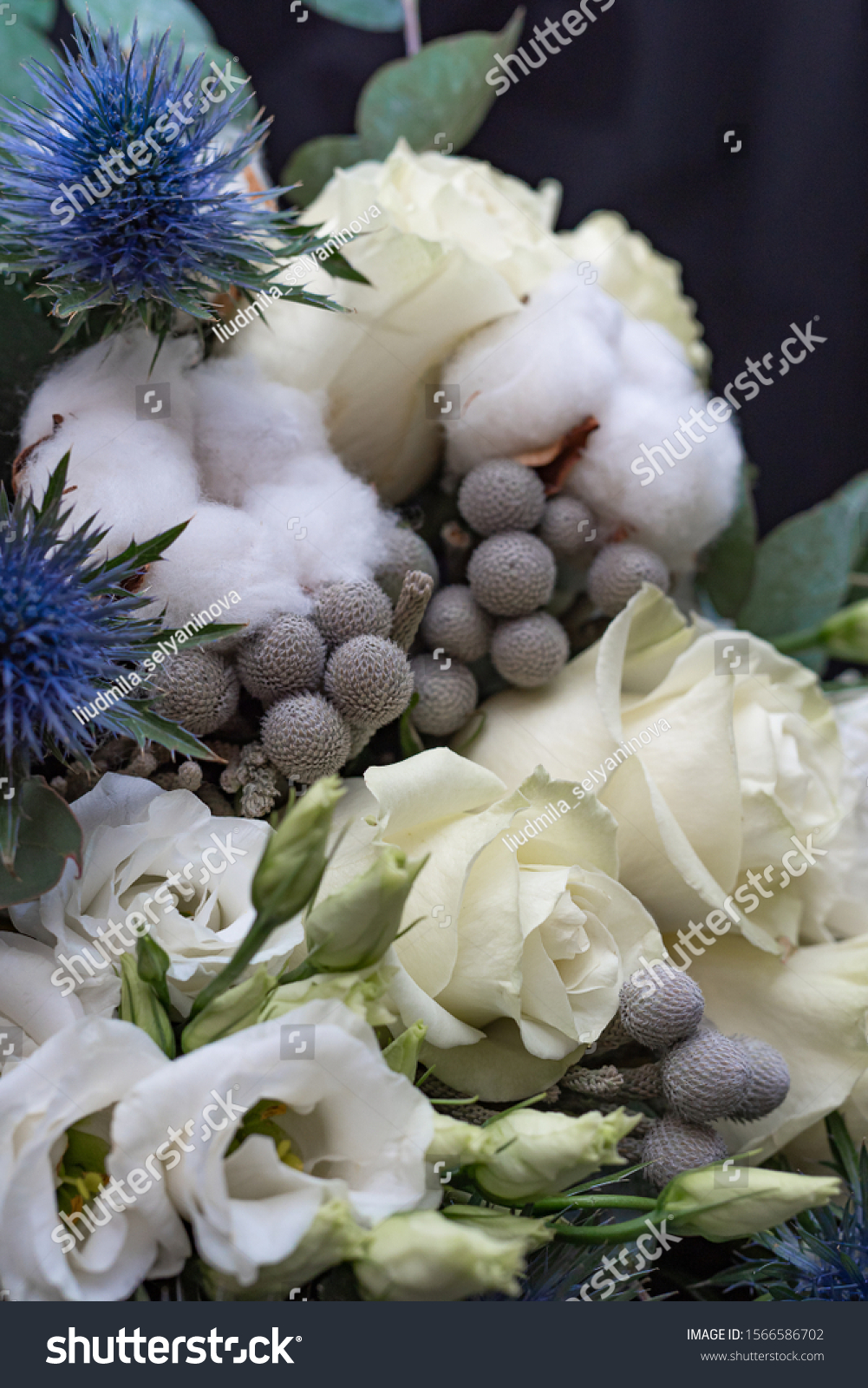 Winter Wedding Bouquet White Roses Cotton Stock Photo Edit Now 1566586702