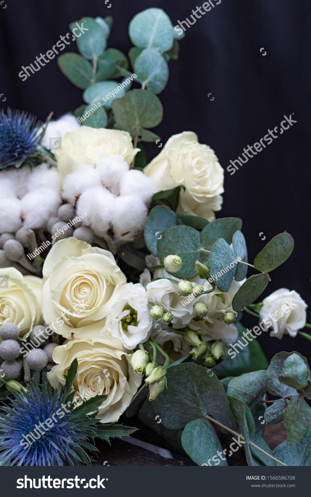 Winter Wedding Bouquet White Roses Cotton Stock Photo Edit Now 1566586708
