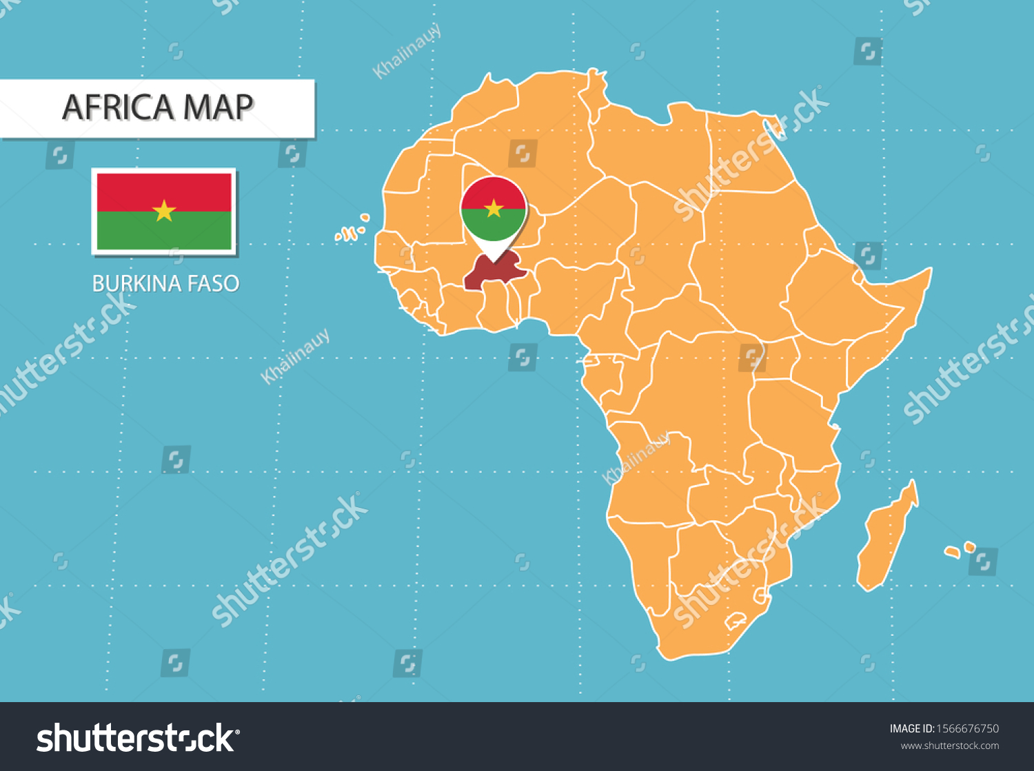 Burkina Faso Map Africa Icons Showing Stock Vector Royalty Free
