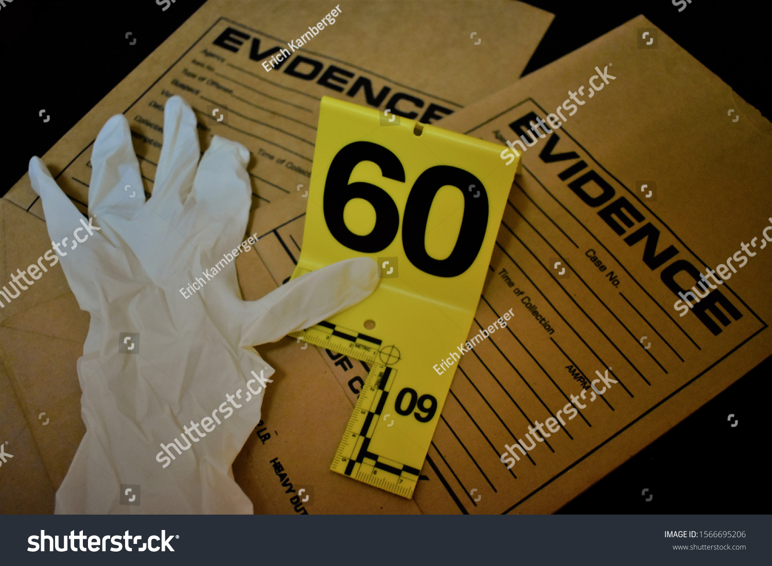 Forensic Tools Evidence Marker Evidence Bag Stock Photo Edit Now 1566695206