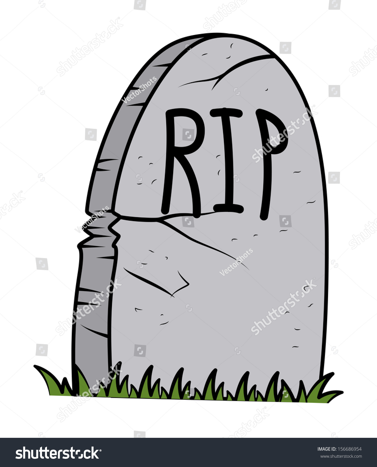 Rip Grave Cartoon Halloween Vector Illustration Stock