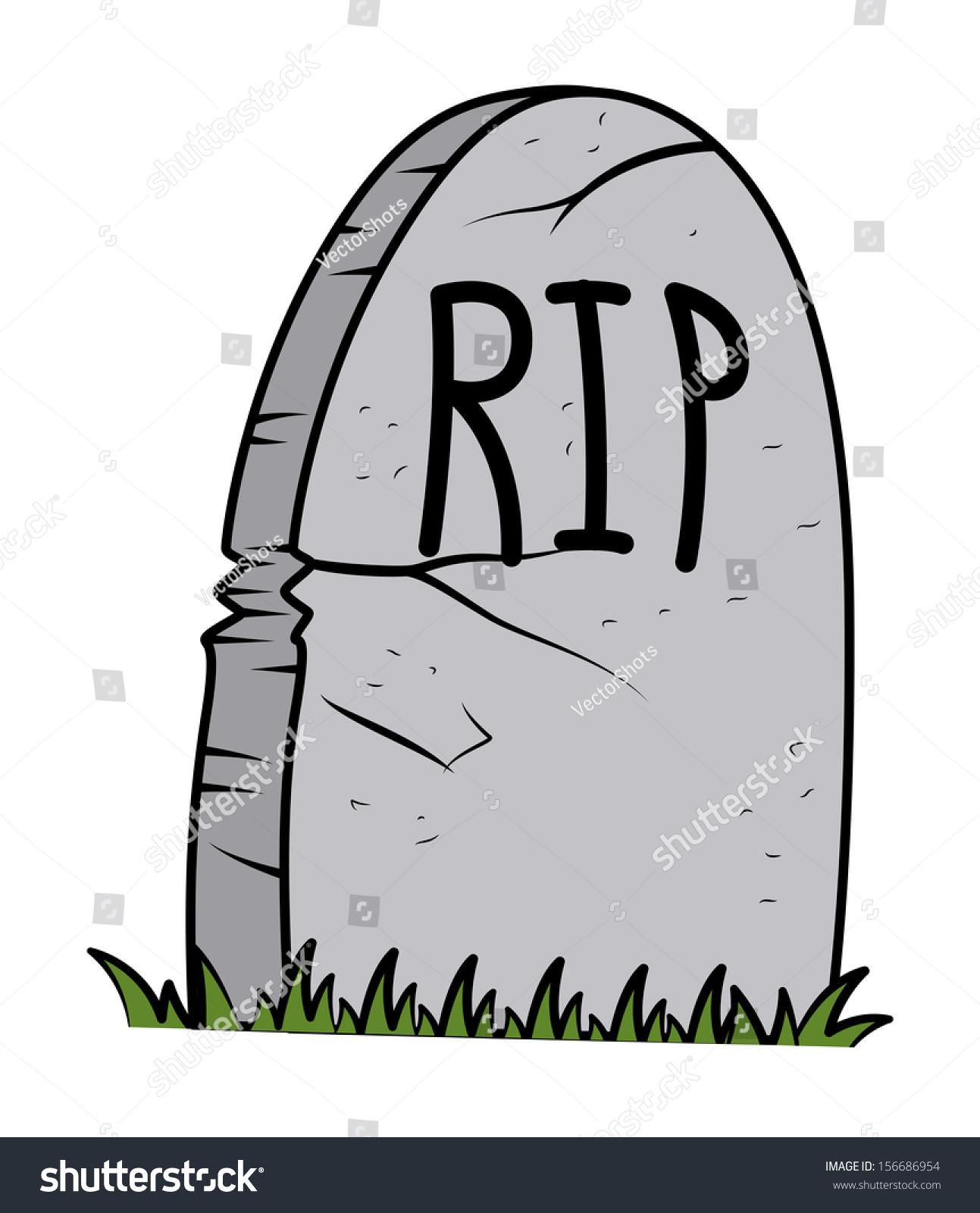 Rip Grave Cartoon Halloween Vector Illustration Stock
