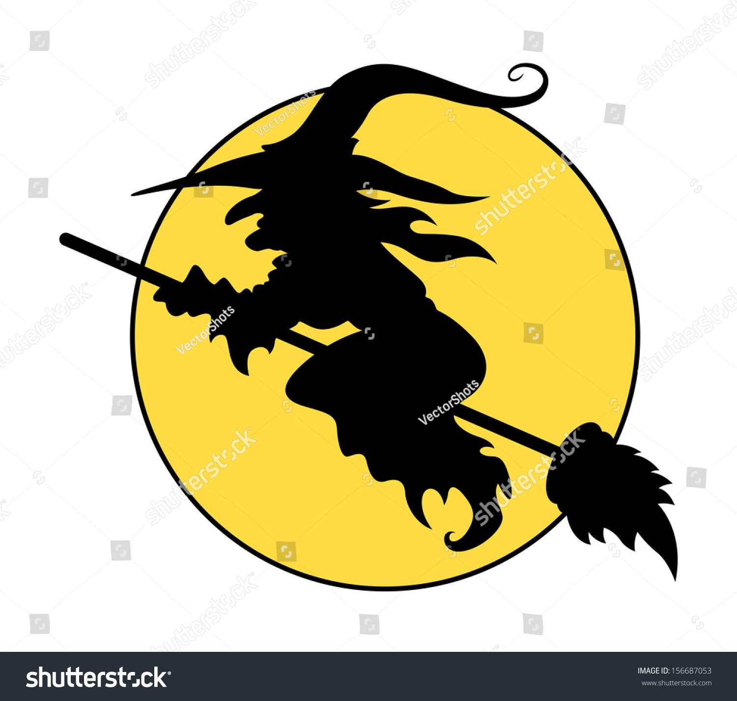 silhouettes flying witch on broom halloween stock vector 156687053