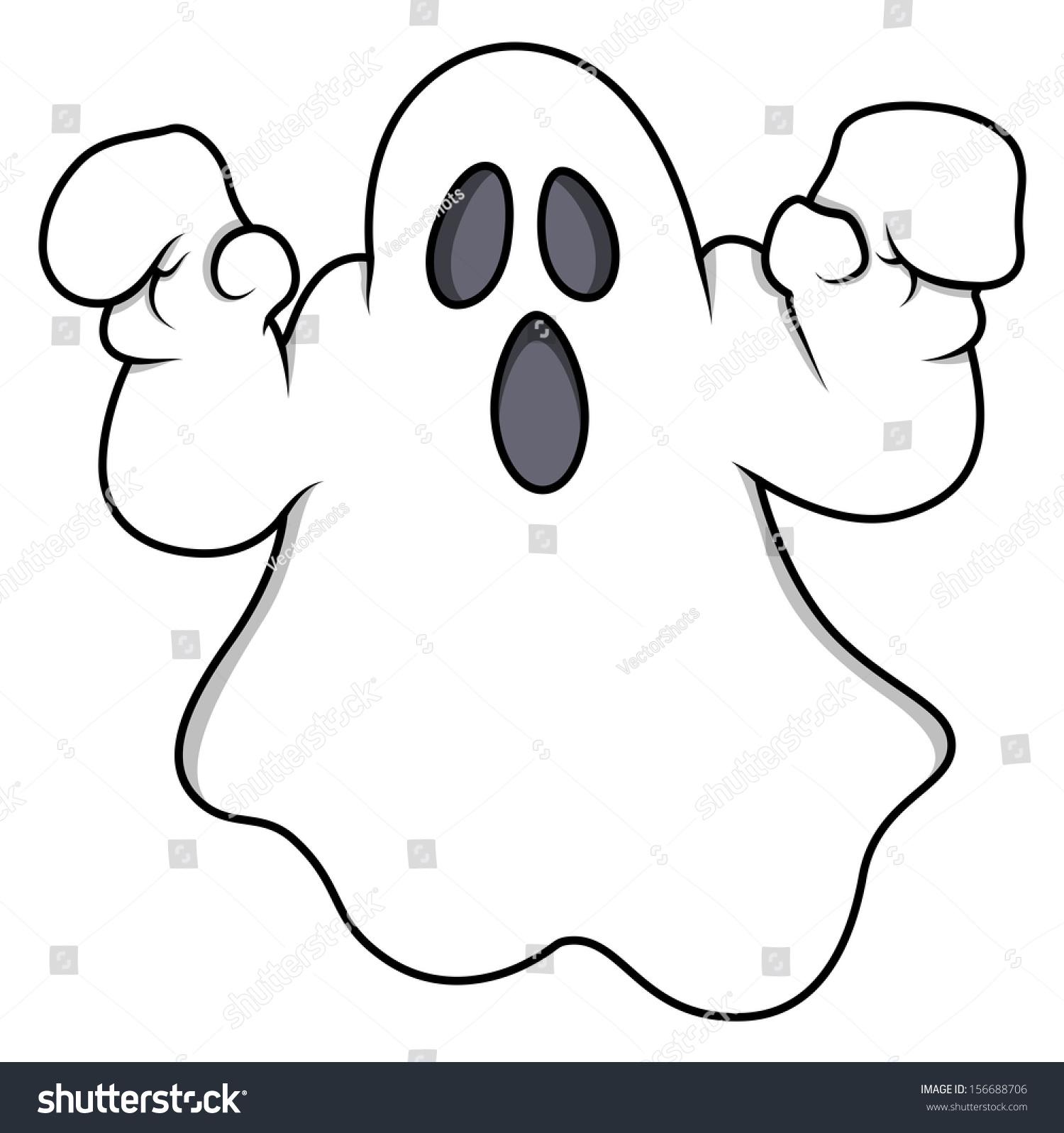 Cartoon Ghost Halloween Vector Illustration Stock Vector ...