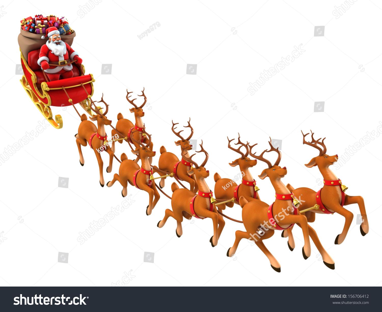 Santa Claus Rides Reindeer Sleigh On Christmas Stock Photo 156706412 ...
