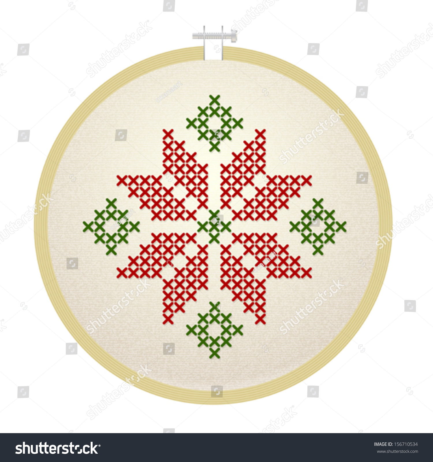 Vector embroidery hoop holly flower stock