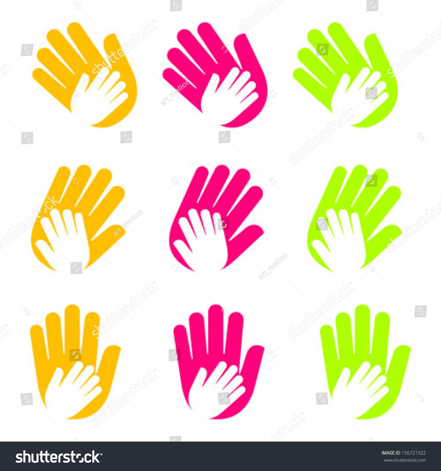 Vector Icon Hands Care Symbols Children Stock Vector Royalty Free