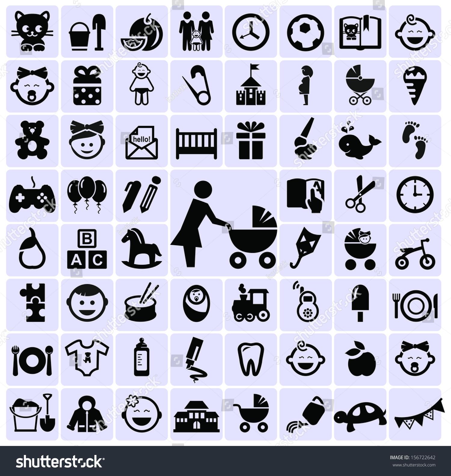 Motherhood Childhood Symbols Icons Stock Vector Royalty Free