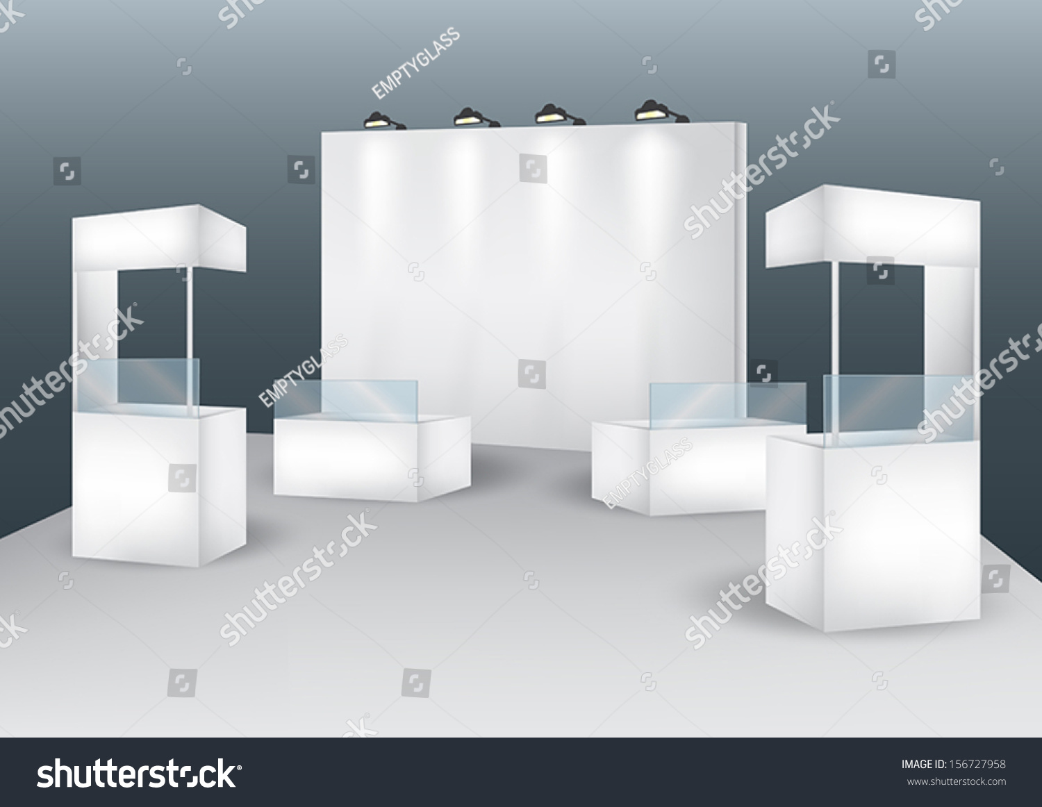 Exhibition Booth Blank : Blank booth event display vector stock