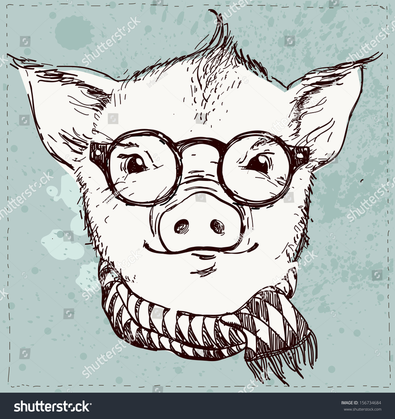 Vector Illustration Hipster Pig Glasses Scarf Stock Vector ...
