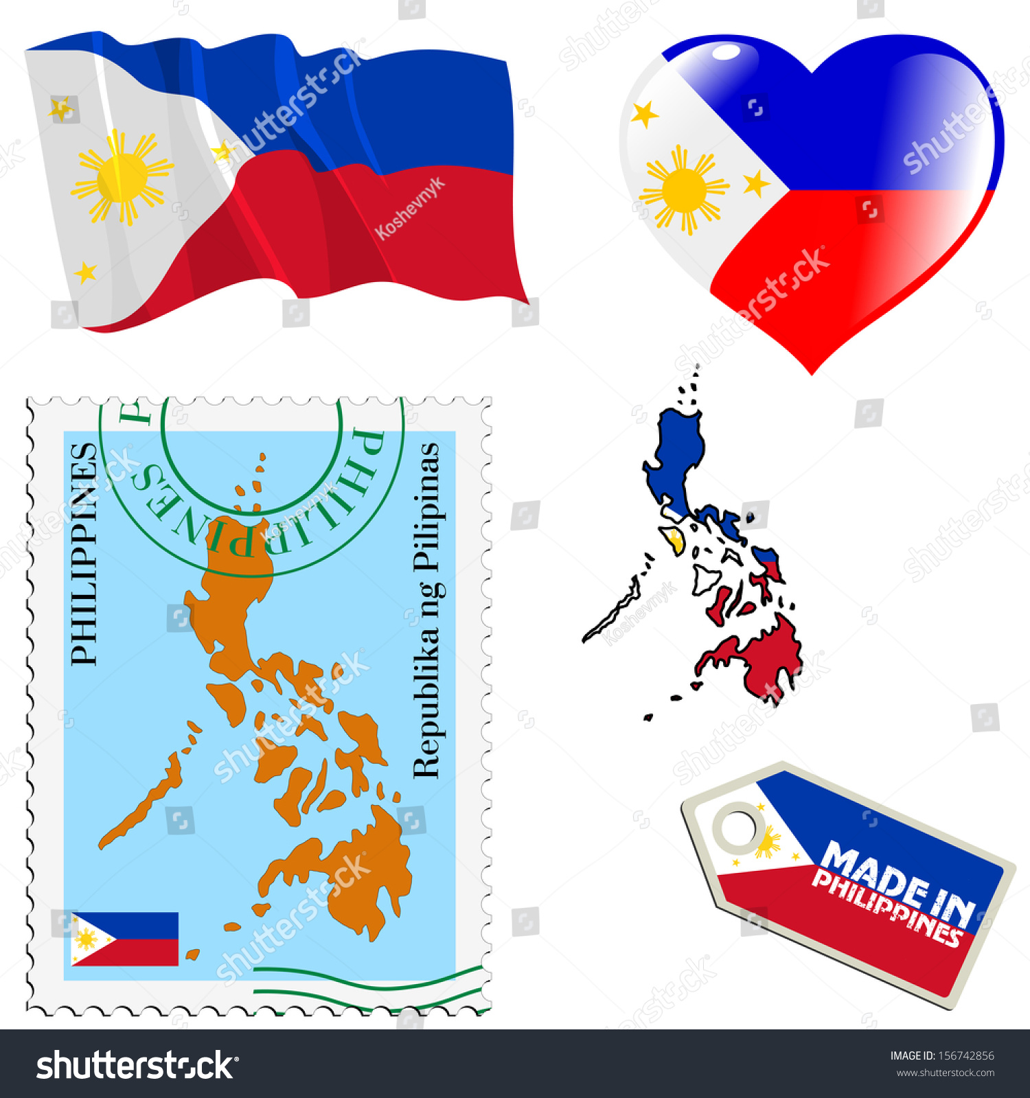 Set Different Symbols National Colours Philippines Stock Vector