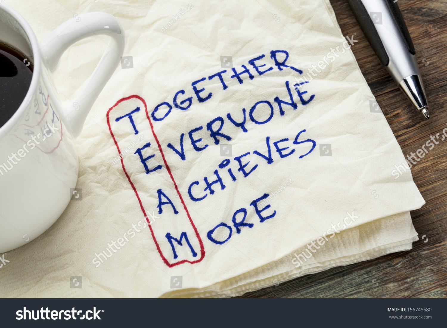 team acronym together everyone achieves more stock photo  team acronym together everyone achieves more teamwork motivation concept a napkin doodle
