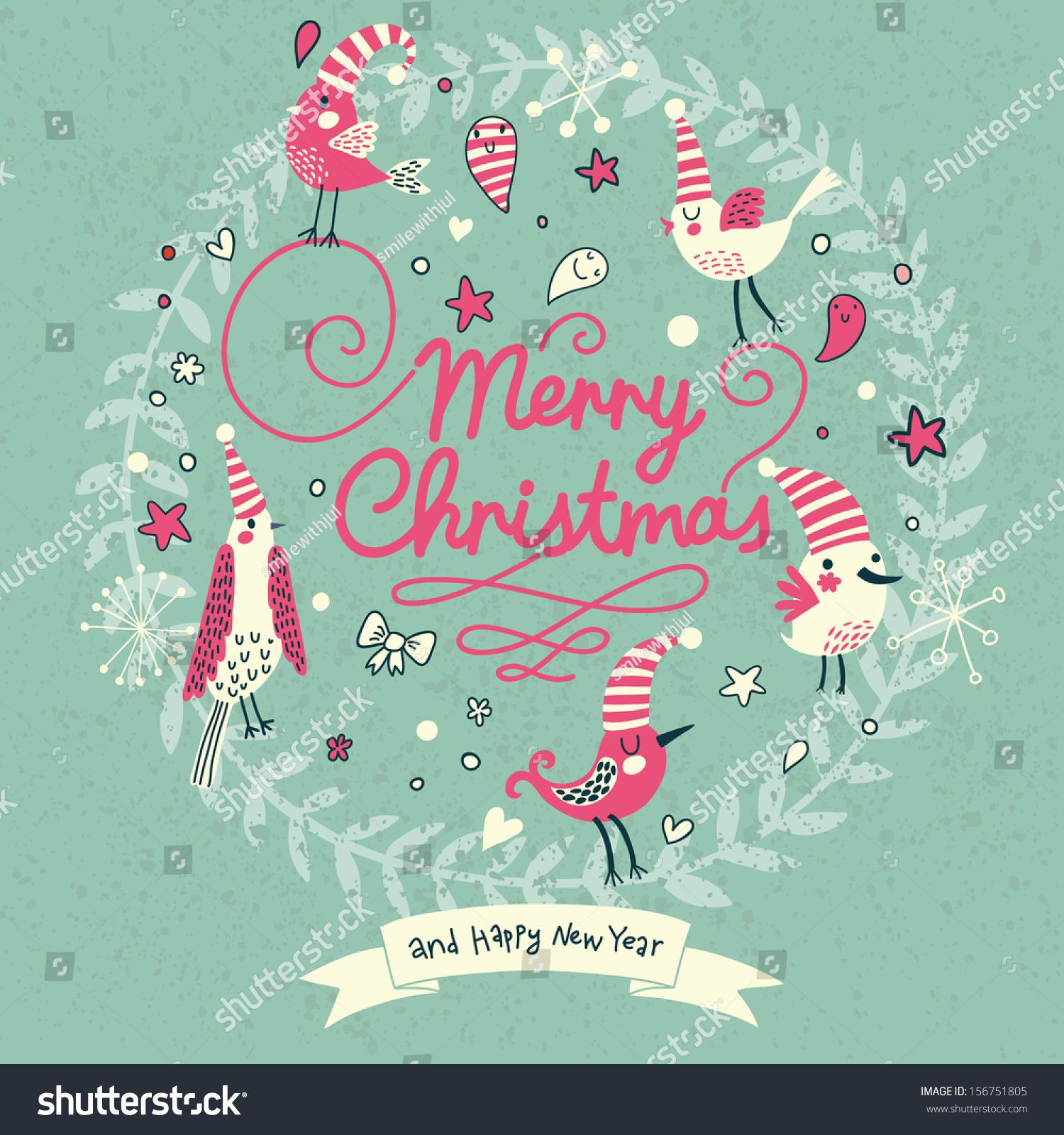 merry christmas card modern popular colors stock vector