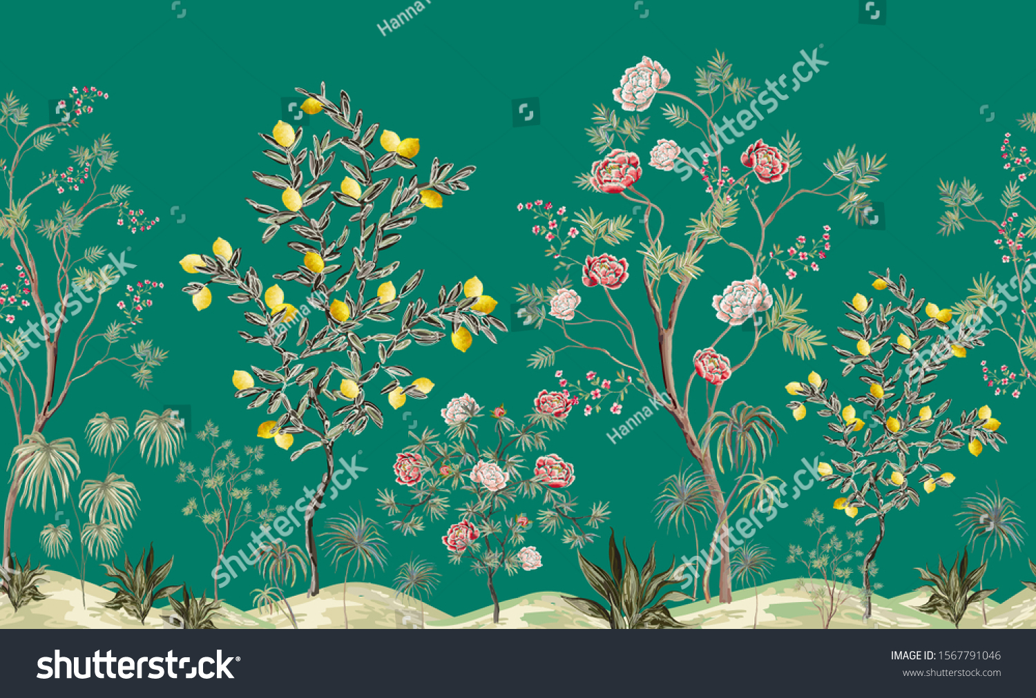 Beautiful Exotic Chinoiserie Wallpaper Hand Drawn Stock Vector