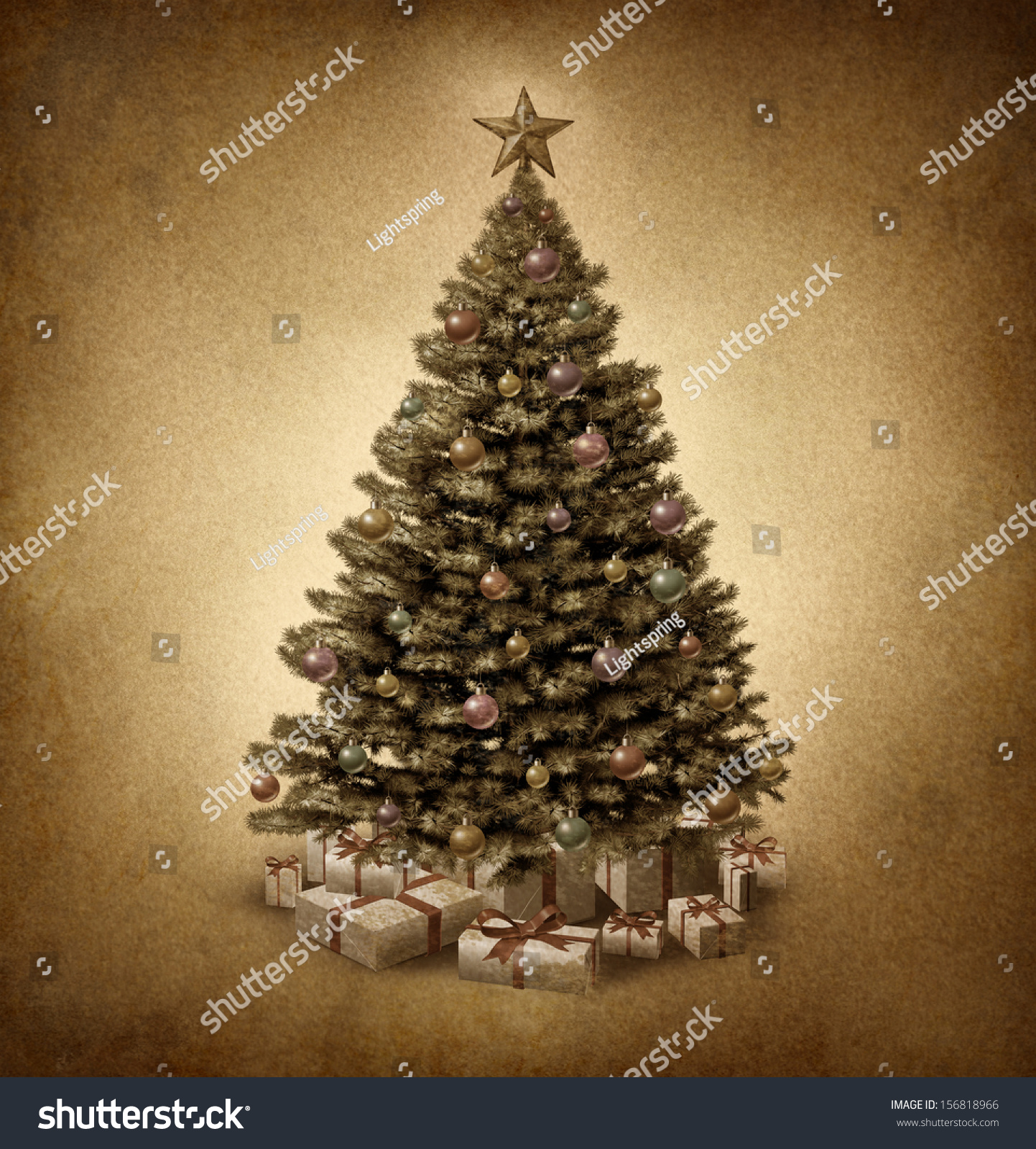 Old fashioned christmas tree on vintage stock illustration