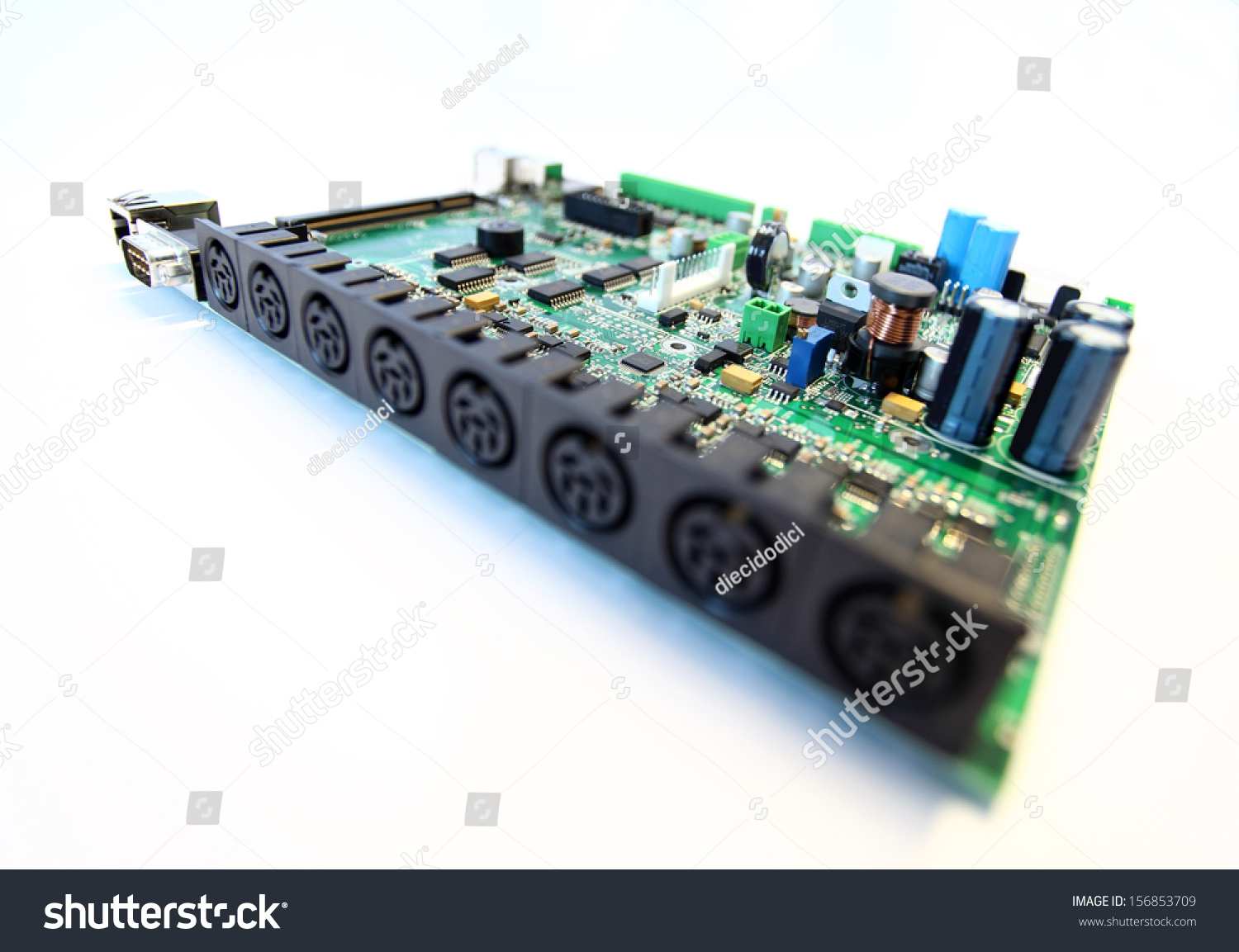 Electronic Circuit Board Close On White Stock Photo Edit Now Recycled Small Notebook Up A Background