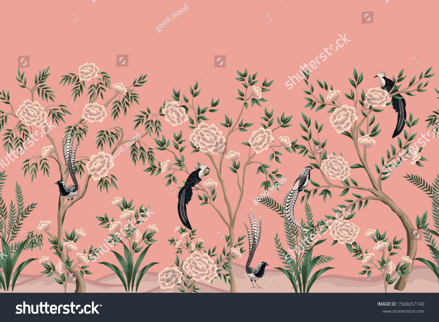 Vintage Chinoiserie Floral Rose Tree Plant Stock Vector Royalty Free 1568657740