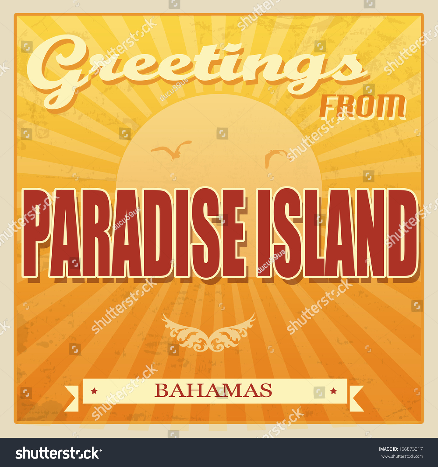 Vintage touristic greeting card paradise island stock vector vintage touristic greeting card paradise island bahamas vector illustration kristyandbryce Gallery