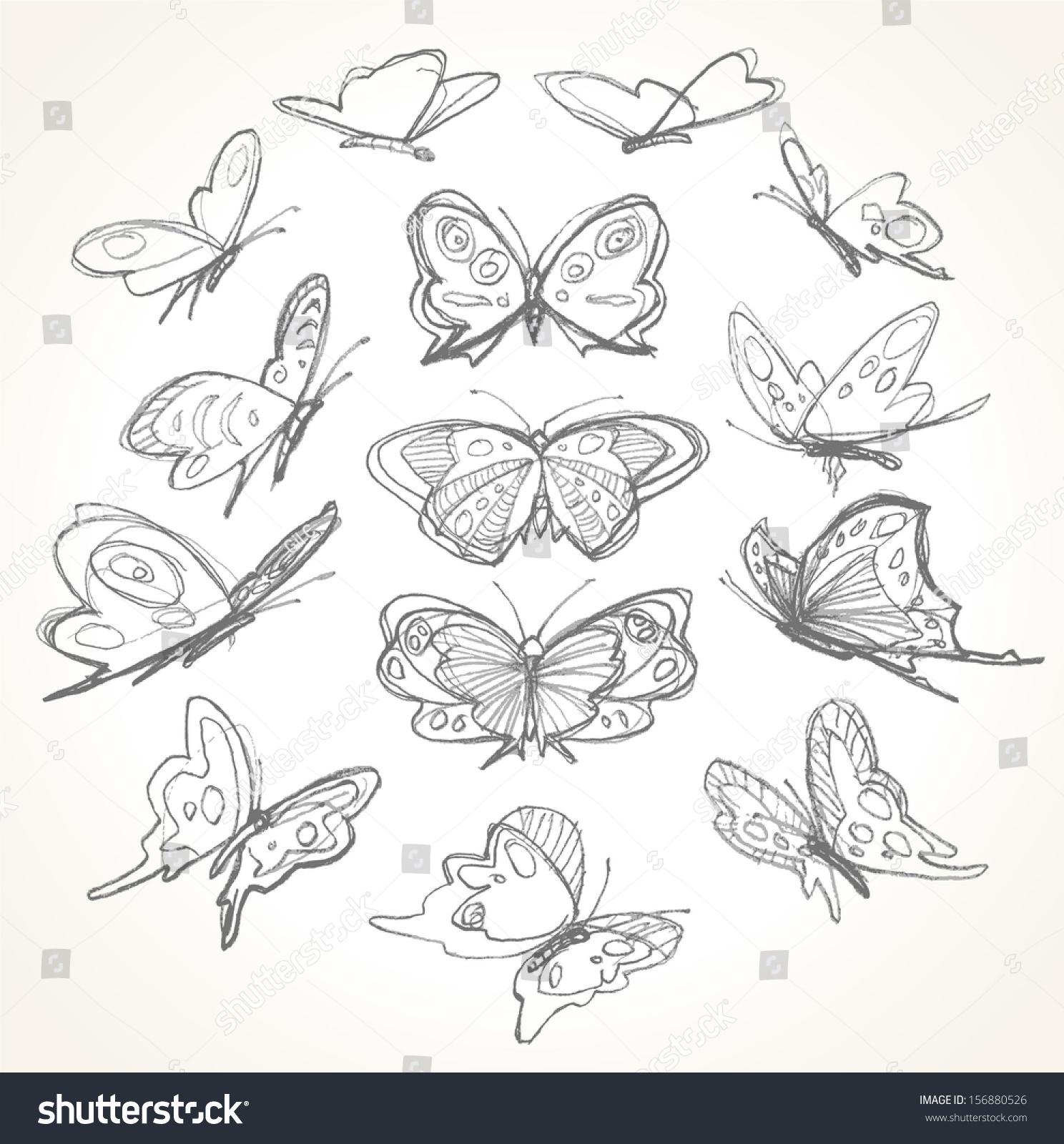 Set Hand Drawn Butterflies Pencil Sketch Stock Vector