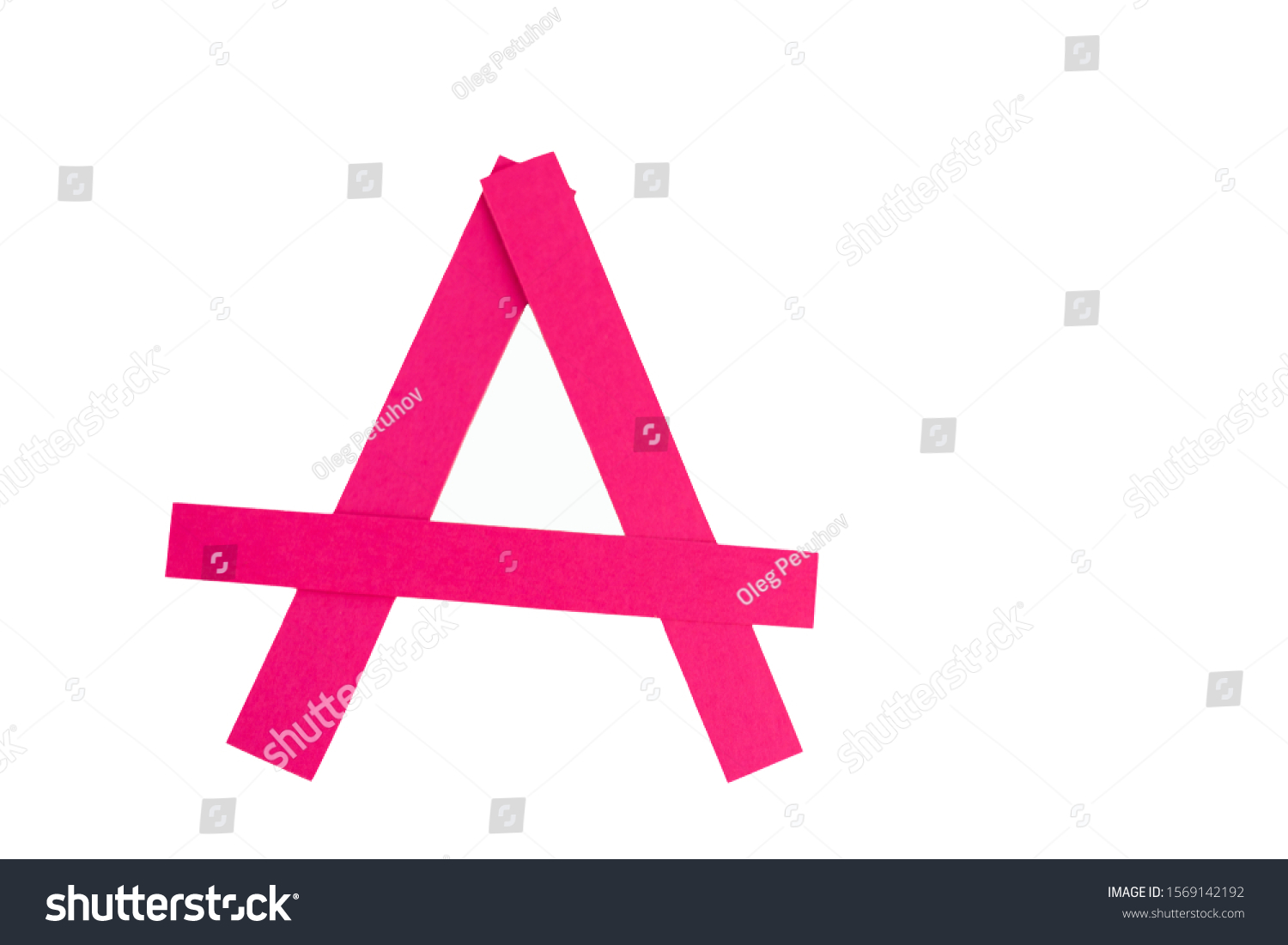 Letter A from parts of red paper. #1569142192