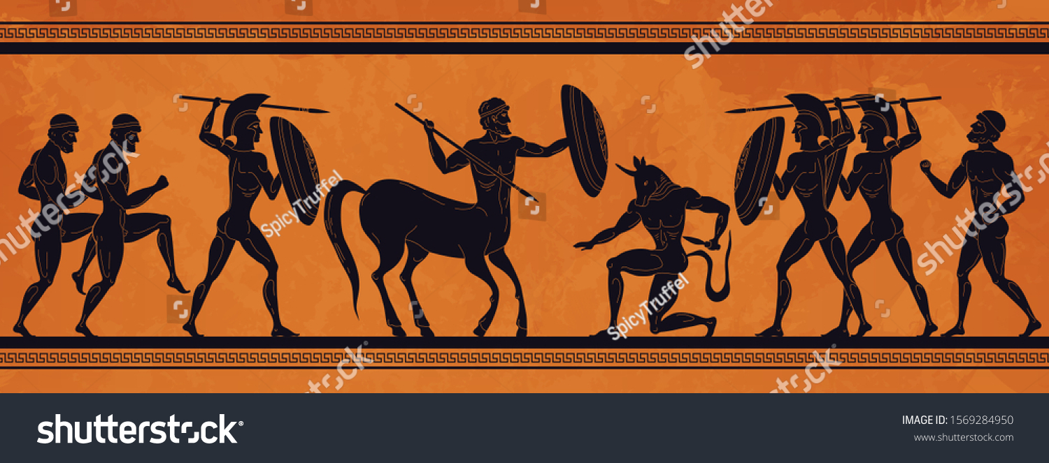 Ancient Greece scene. Historic mythology silhouettes with gods and centaurs, figures and pattern for ancient amphora. Vector mythological image art ancients amphoras ornaments #1569284950