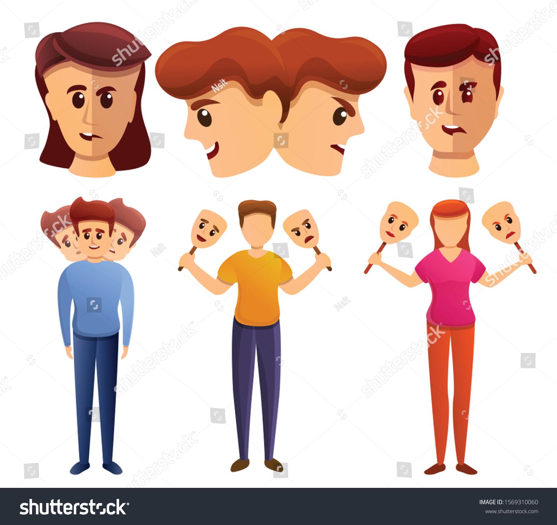 Bipolar Disorder Icons Set Cartoon Set Stock Vector Royalty Free 1569310060