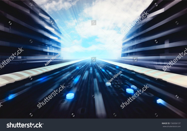 青い未来的な街道とバイナリコードの道路の壁紙イラスト のイラスト