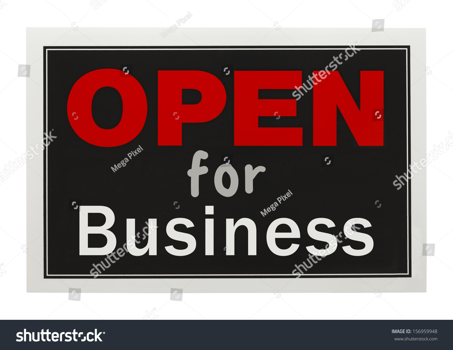 Red Black Open Business Sign Isolated Stock Photo ...