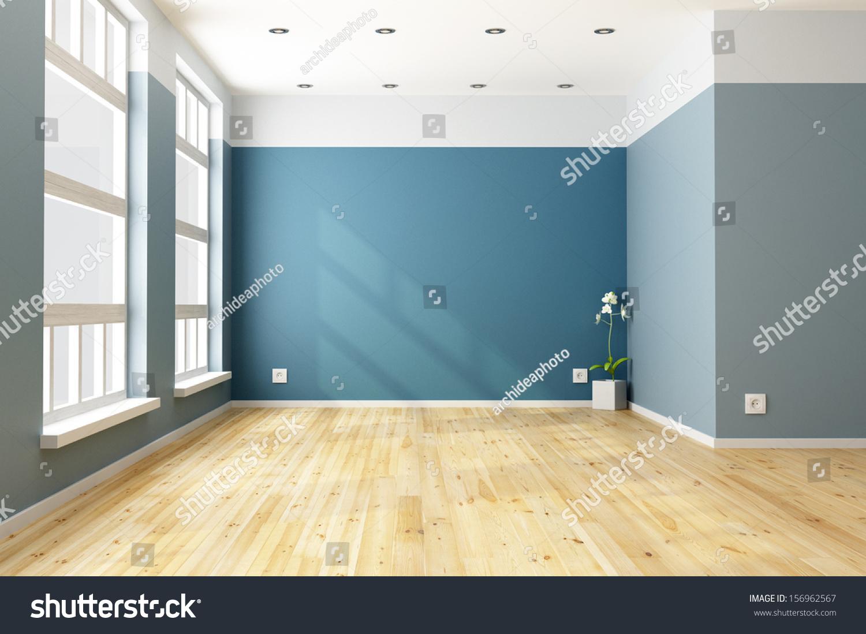 Big empty living room - Empty Blue Living Room With Big Windows Rendering