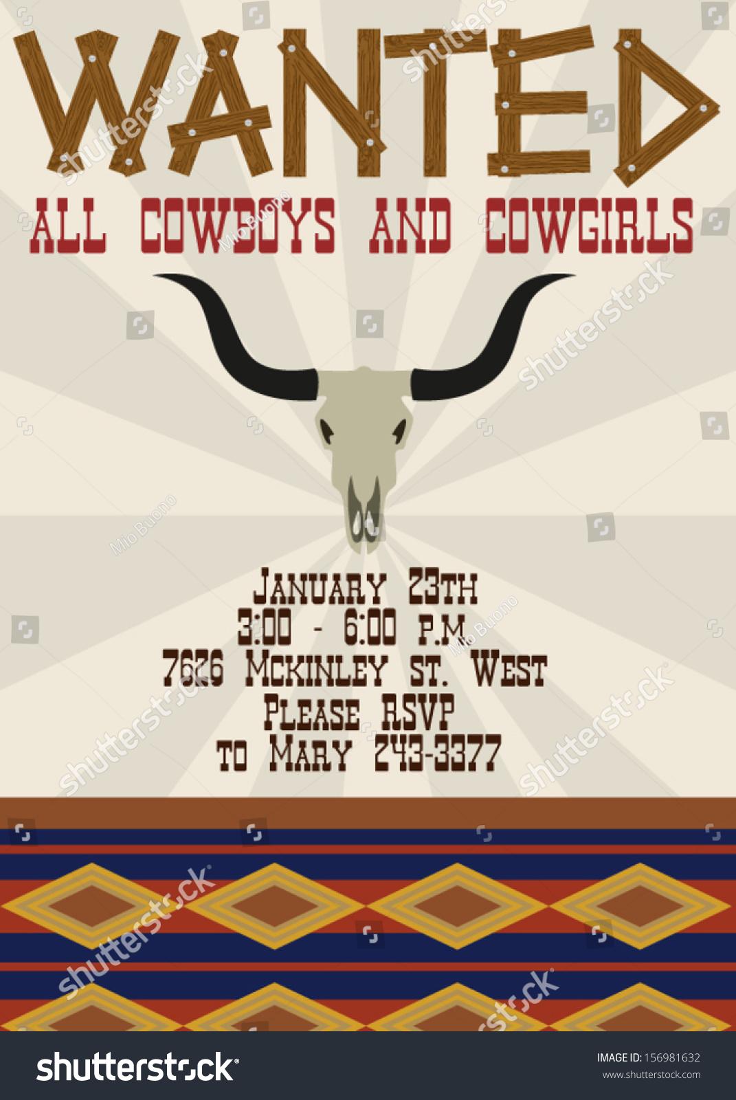 Wild West Birthday Party Invitation Stock Vector 156981632 ...