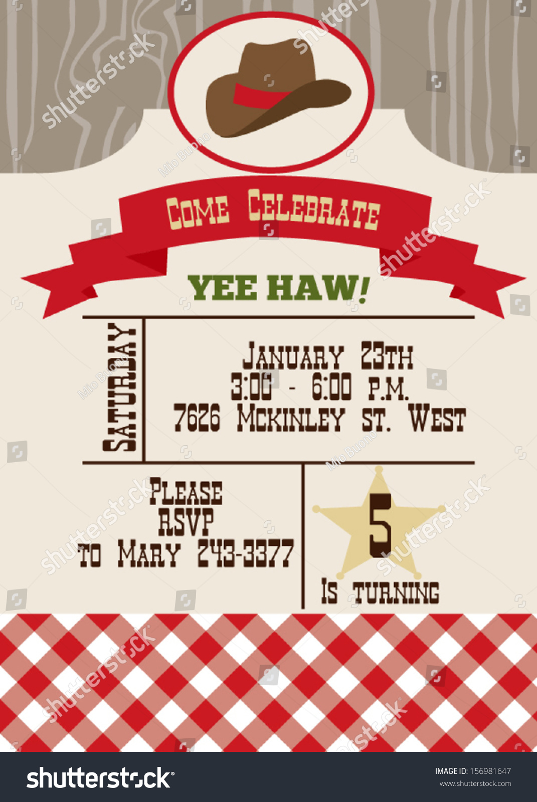Wild West Birthday Party Invitation Vector 156981647 – Wild West Party Invites