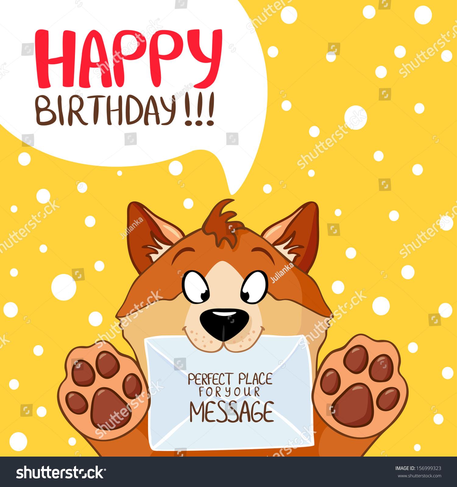 Illustration Funny Cartoon Dog Happy Birthday Stock Vector