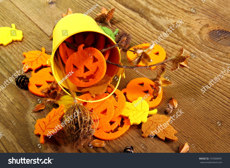 yellow bucket halloween autumn deco writing stock photo (edit now