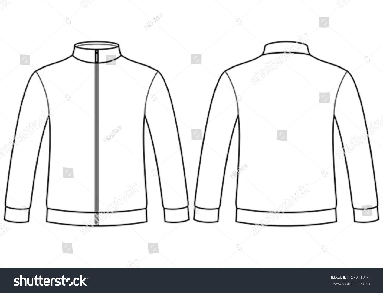 Blank Vector Calendar Template : Blank sweatshirt template isolated on white stock vector