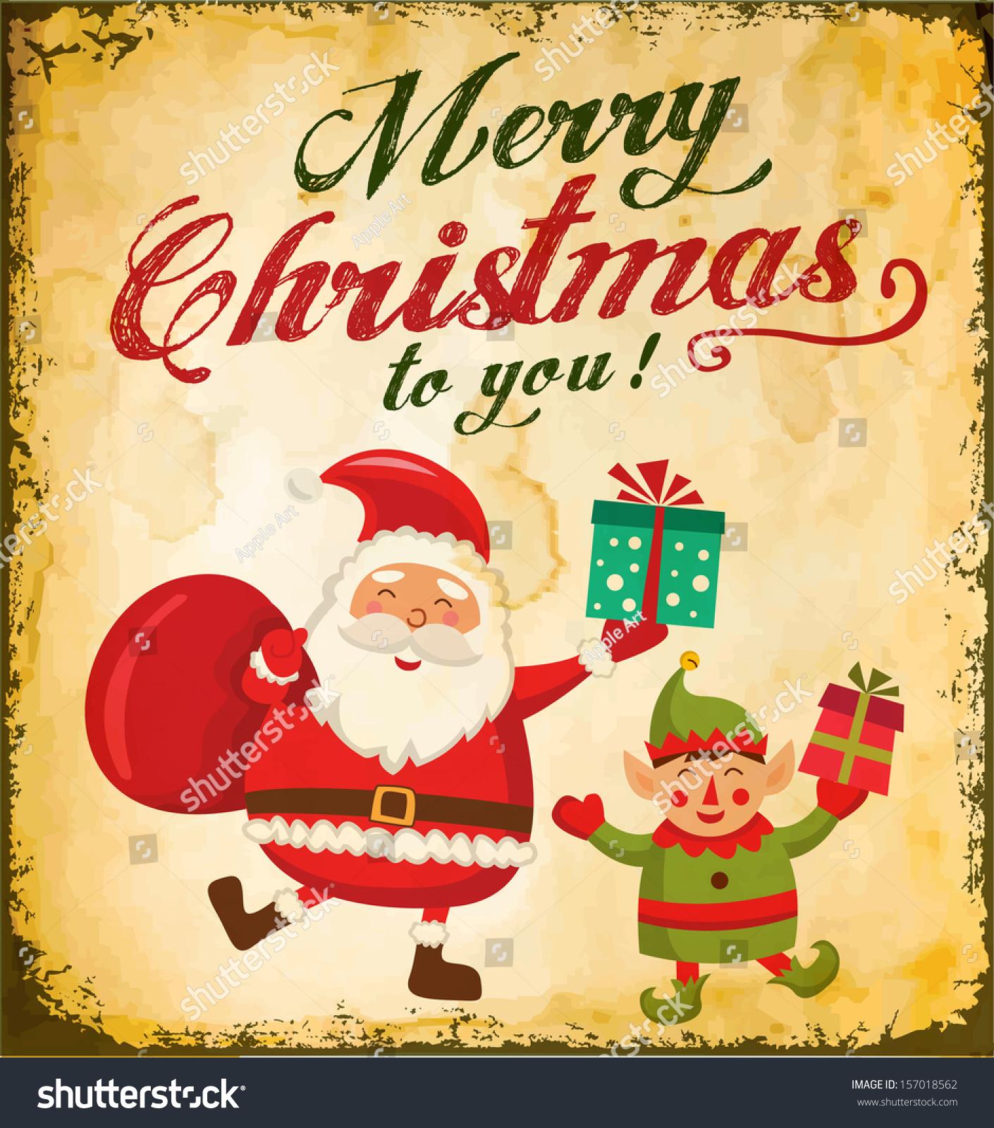 Vintage Christmas Card Cute Santa Claus Stock Vector Royalty Free