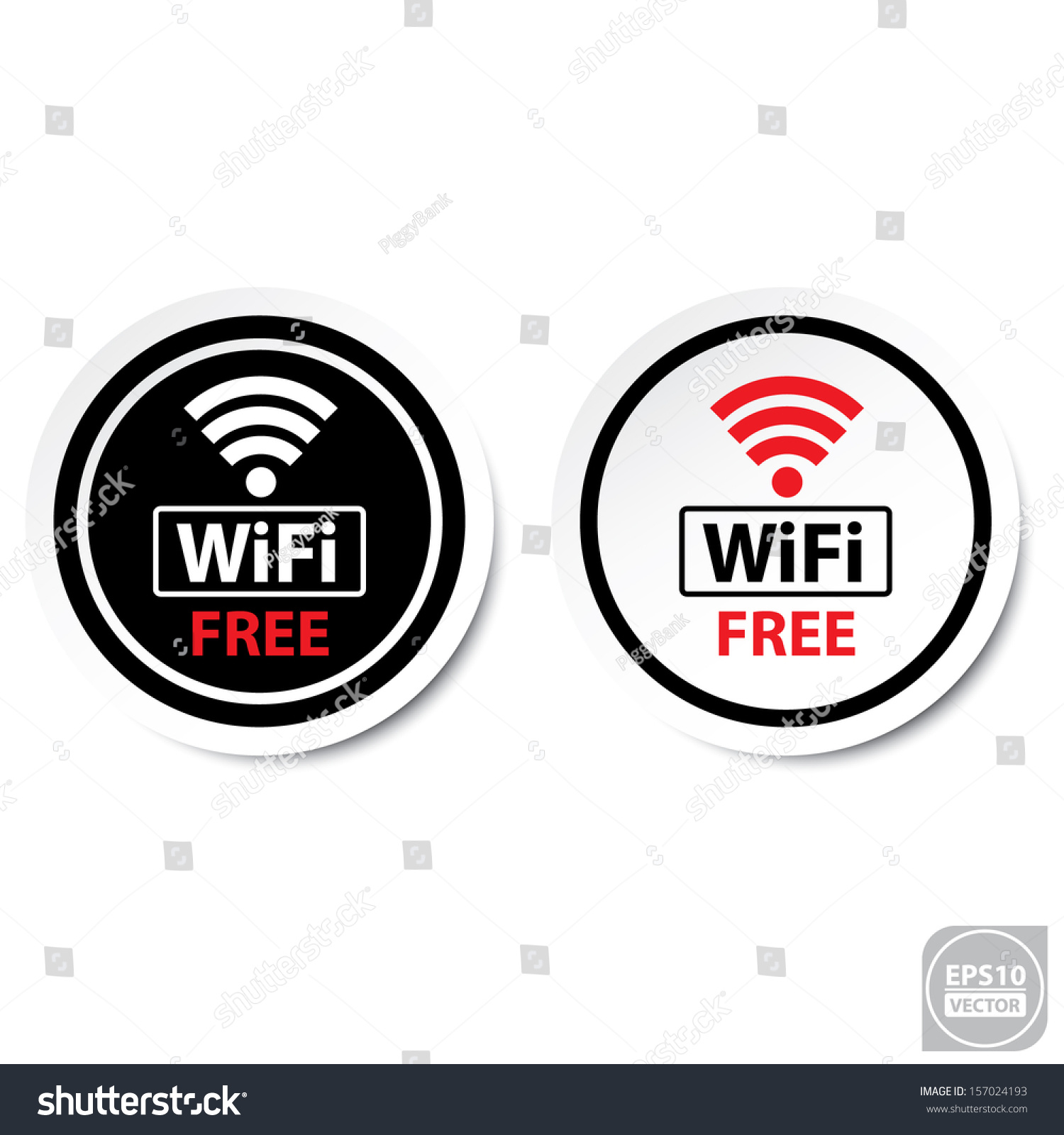 Vector Black White Wifi Free Icons Stock Vector (Royalty
