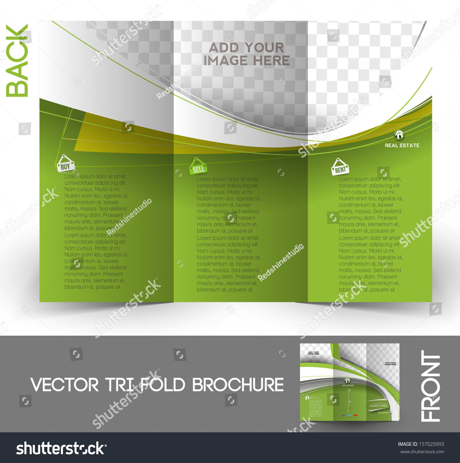 real estate trifold brochure design stock vector  real estate tri fold brochure design