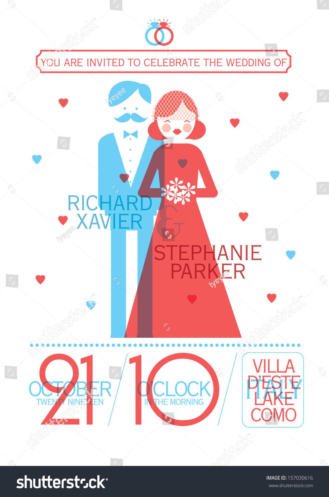 Modern Wedding Invitation Card Template Vectorillustration Stock ...