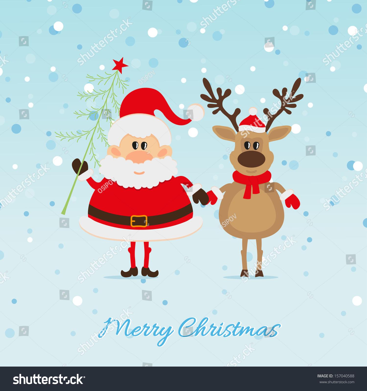 Santa Claus Christmas Tree Reindeer Christmas Stock Vector ...