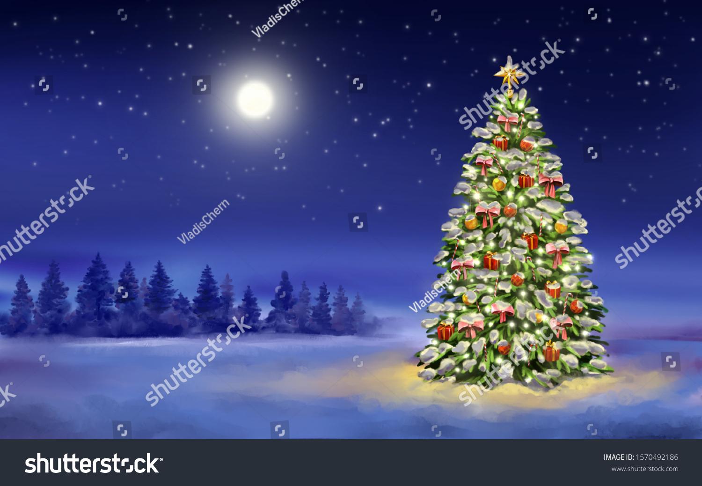 stock photo christmas night christmas tree on winter background decorative christmas wallpaper art 1570492186